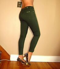 Seven 7 For All Mankind $215 Skinny Dark Olive Army Green Gold Zipper Jeans 31