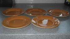 FIVE POTTERY SIDE PLATES IN ORANGE  IVORY REVERSE   MADE BY TAMS