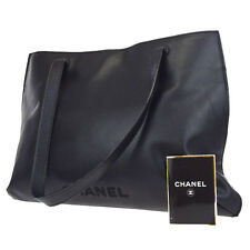 Authentic CHANEL Logos Shoulder Tote Bag Leather Black Italy Vintage 32W213