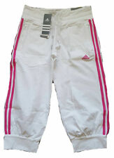 Adidas Ess 3s 3/4 Pants Womens Capri Trousers Size UK 10 Brand New White/Pink