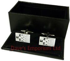 Opticians Cufflinks - Gift Boxed - Optical Optometrist Eye Test Chart Cuff Link