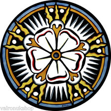 STAINED GLASS WINDOW ART - STATIC CLING  DECORATION - BATH ABBEY TUDOR ROSE