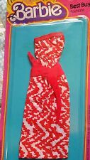 Barbie Best Buy fashions Rare Red and white long strapless dress #2775 1978 NEW