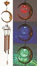 NEW HEADWIND 830-1319 SOLAR LIGHTED CRACKLE BALL MOON WIND CHIMES 0080101