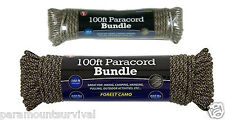 100 ft 550 Cord Paracord Lanyard Type III 7 Strand Forest Camo Camping Survival