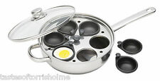 Kitchen Craft Induction 6 Non Stick Cup Poached Egg Large 28cm Poaching Pan