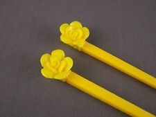 "Yellow flower rose plastic set of 2 hair chop sticks picks pins 7.5"" long"