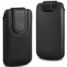Black Magnetic PU Leather Pull Tab Case Cover For Huawei U8510 Ideos X3