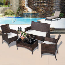 4PCS Outdoor Patio PE Rattan Wicker Table Shelf Sofa Furniture Set With Cus