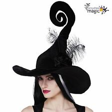 *Ladies Deluxe Black Witch Witches Costume Twisty Spiral Bent Hat with Feathers*