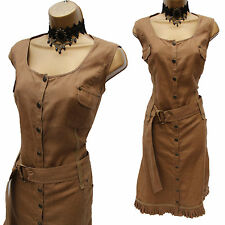 Designer LUIS CIVIT Khaki BROWN Linen Safari Summer Casual Shirt Dress UK 16-18