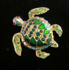 Sea Turtle Pin Gold Tone Green Crystal Accents Red Eyes New Brooch Animals
