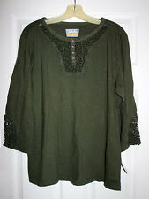 Cabelas Womens XL Army Green Knit Crochet Yoke Elbow Sleeves Casual Top NWT