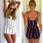 Women Summer casual Sleeveless V-neck striped playsuit Jumpsuits Short Pants Hot