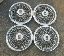 "Set of 4 OEM 1982-88 Oldsmobile Cutlass RWD 14"" Wire Spoked Hubcaps Wheel Covers"