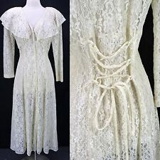 Vintage 90s Ivory Sheer Lace Button Front Corset Back Victorian Grunge Dress M