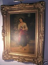 AFTER ADOLPHE WILLIAM BOUGUEREAU ANTIQUE OIL PAINTING CIRCA 1800's