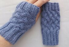 LADIES hand knitted FINGERLESS GLOVES wrist warmers DENIM BLUE one size NEW