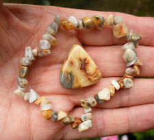 CRAZY LACE AGATE BEADED STRETCH BRACELET - POLISHED TUMBLESTONE GIFT BAG & CARD