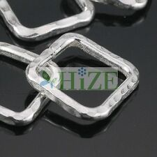HIZE SB153 Thai Karen Hill Tribe Silver 6 HAMMERED SQUARE RING Beads 15mm