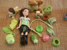 "Polly Pocket Lot ""Colors of the Rainbow"" Doll Green Pets Cat Dog Accessory L34"