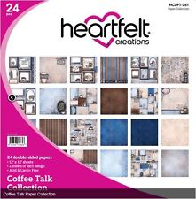 "Heartfelt Creations 12""x12"" Cardstock pack ~ COFFEE TALK  - 24ct. ~HCDP1-261"