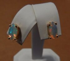 1.10ct  Natural Marquoise Ethiopian Opal 10K Yellow Gold Stud Earrings