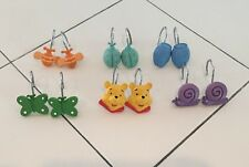 (o) Disney Winnie the Pooh Friends Shower Curtain Hooks Rings Complete Set of 12