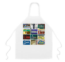 Personalized Apron featuring the name LISA in photos of signs