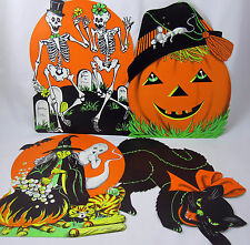 Carrington Halloween Decorations Vintage Skeleton Pumpkin Black Cat Witch Ghost