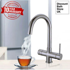 Brushed Steel Instant Hot Water Kitchen Tap 3 in 1 - Water Filter & Heater Unit