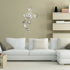 New Mirror Clock Surface Wall Sticker Wall Decal DIY 3D Home Modern Decoration