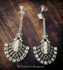 Stunning white crystal art deco Gatsby chandelier cocktail statement earrings