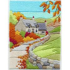 Derwentwater Designs Autumn Cottage Long Stitch Kit