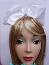 white Handmade Big huge Girl Extra Large Boutique JUMBO Satin clip Hair Bow