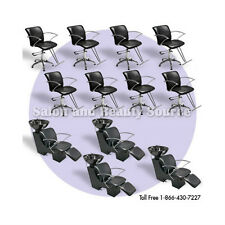 New Salon Equipment Package Spa Beauty Backwash Shampoo Styling Cutting Chairs