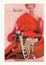 "1958 Marvella Simulated Pearls Necklace ""for the Real Look""   PRINT AD"