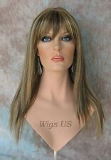 Long Wig Light Brown Mix Razored Straight Layer Bangs Skin Part Wigs US