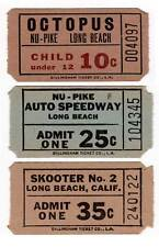 PIKE - 3 VIntage Long Beach California NU-PIKE Amusement Park Ride Tickets