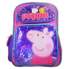 """Peppa Pig Purple & Pink 16"""" Large Girl School Backpack Cute New"""