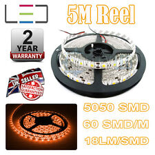 5M 12v AMBER LED STRIP LIGHT 5050 300SMD 18LM/SMD 60SMD/m BRIGHT WATERPROOF