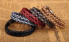 G25 Lot 5PCS Surfer Double 6mm Braided PU Leather Bracelet Wristband Men's