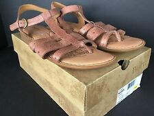 NIB Born Sandals Marisol Womens 10 Leather Brown Ankle Strappy Thong Comfort