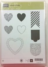 Stampin' Up! HEARTS A FLUTTER Clear Rubber Stamp Valentine Banner Doily NEW