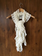 LOOSE CROCHET KNIt SCARF White Cream - VGC