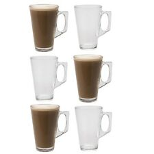 6 x 200ml Coffee / Tea / Latte / Cappucino Glass Cups Mugs Clear Glasses