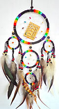 "DREAM CATCHER NEW 4.5"" BEST SELLER BLACK RAINBOW COLOR WITH BEAD/FEATHER DECOR."