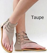 New Womens AS1 Black Taupe Gladiator Strappy Thong Flat Sandals sz 6 to 10