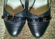 Woman Classic Genuine leather Real Black Shoes Heels Pump Snake skin Size 8 39