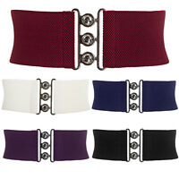 S M L XL Lady Womens Waist Band Elastic Metal Waist Belt Wide HOOK Buckle Belts